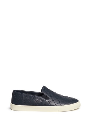 Main View - Click To Enlarge - Tory Burch - Logo stud quilted leather skate slip-ons