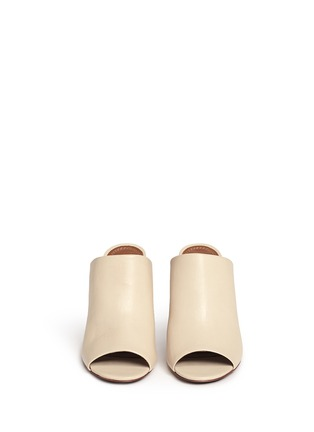 Front View - Click To Enlarge - Tory Burch - 'Raya' leather peep toe mules