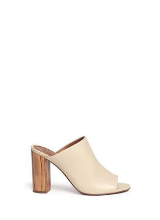 Main View - Click To Enlarge - Tory Burch - 'Raya' leather peep toe mules