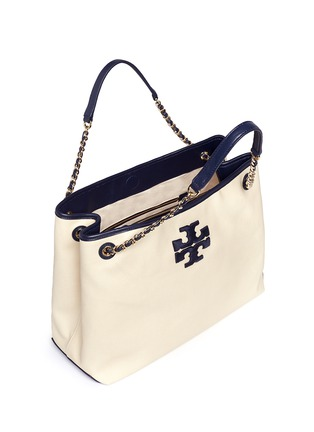 Detail View - Click To Enlarge - Tory Burch - 'Thea' zip canvas chain tote