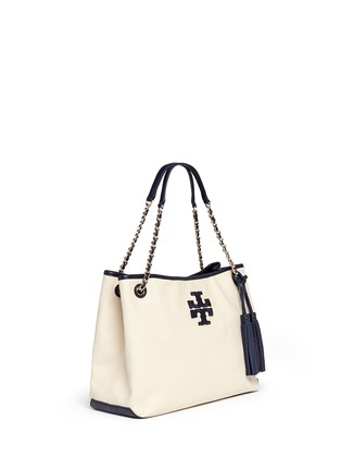 Front View - Click To Enlarge - Tory Burch - 'Thea' zip canvas chain tote