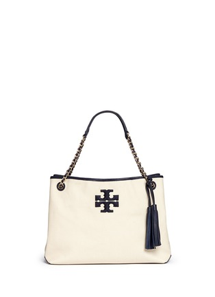 Main View - Click To Enlarge - Tory Burch - 'Thea' zip canvas chain tote