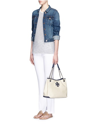 Figure View - Click To Enlarge - Tory Burch - 'Thea' zip canvas chain tote
