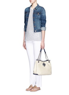 TORY BURCH 'Thea' zip canvas chain tote