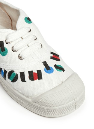 细节 - 点击放大 - BENSIMON - 中性款多彩字母印花帆布童鞋
