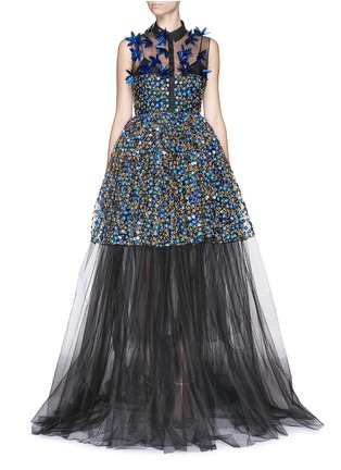 Main View - Click To Enlarge - DELPOZO - Holographic floral embroidery tulle gown