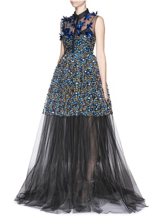 Figure View - Click To Enlarge - DELPOZO - Holographic floral embroidery tulle gown