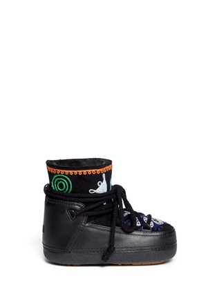 Main View - Click To Enlarge - INUIKII - ''Fokelore' suede embroidery sheepskin shearling kids boots