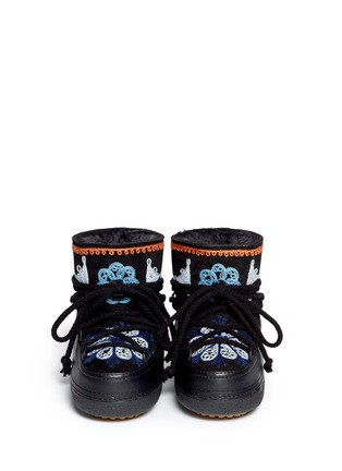 Figure View - Click To Enlarge - INUIKII - ''Fokelore' suede embroidery sheepskin shearling kids boots