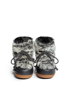 IKKIIRabbit fur leather sheepskin shearling moon boots