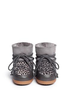 IKKII'Leopard' calf hair sheepskin shearling moon boots