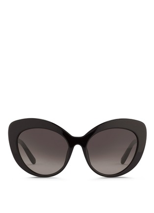 Main View - Click To Enlarge - Oscar de la Renta - x Linda Farrow strass pavé temple cat eye sunglasses