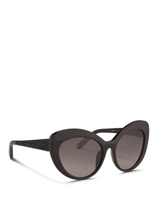 Figure View - Click To Enlarge - Oscar de la Renta - x Linda Farrow strass pavé temple cat eye sunglasses