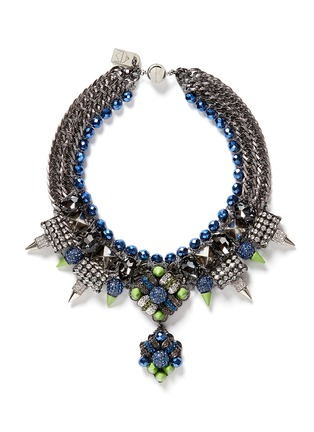 Main View - Click To Enlarge - MOUNSER - Neon spike crystal curb chain necklace
