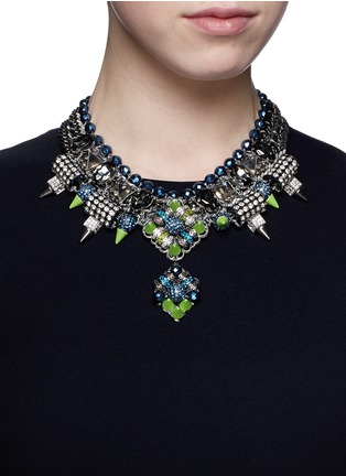 Figure View - Click To Enlarge - MOUNSER - Neon spike crystal curb chain necklace