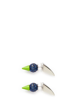 Main View - Click To Enlarge - MOUNSER - Neon spike crystal pavé earrings