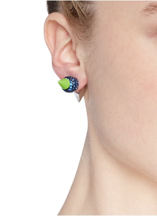 Figure View - Click To Enlarge - MOUNSER - Neon spike crystal pavé earrings