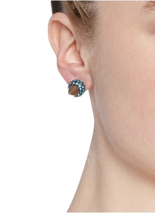 Figure View - Click To Enlarge - AMANDA MOUNSER - Crystal horn spike earrings
