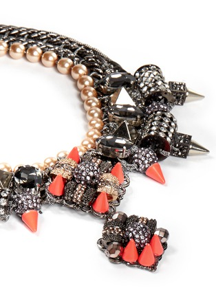 Detail View - Click To Enlarge - AMANDA MOUNSER - Neon spike crystal curb chain necklace