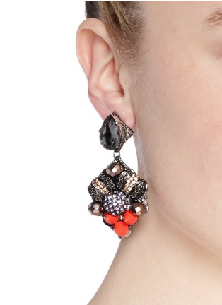 Figure View - Click To Enlarge - MOUNSER - Neon spike crystal drop earrings