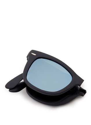 Detail View - Click To Enlarge - Ray-Ban - 'Wayfarer Folding' matte acetate mirror sunglasses