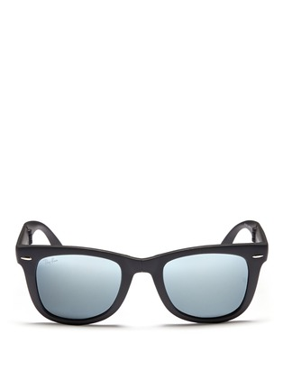 Main View - Click To Enlarge - Ray-Ban - 'Wayfarer Folding' matte acetate mirror sunglasses