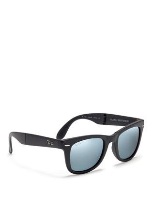 Figure View - Click To Enlarge - Ray-Ban - 'Wayfarer Folding' matte acetate mirror sunglasses