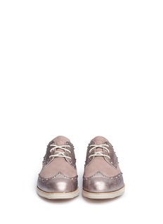 COLE HAAN LunarGrand metallic leather wingtip shoes