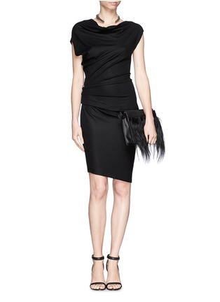 Detail View - Click To Enlarge - Helmut Lang - Asymmetric sleeve drape dress