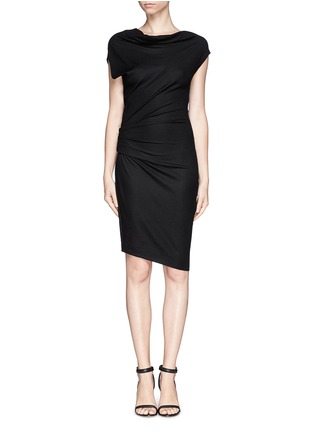 Main View - Click To Enlarge - Helmut Lang - Asymmetric sleeve drape dress