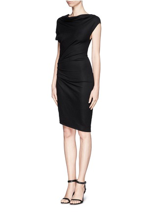 Figure View - Click To Enlarge - Helmut Lang - Asymmetric sleeve drape dress