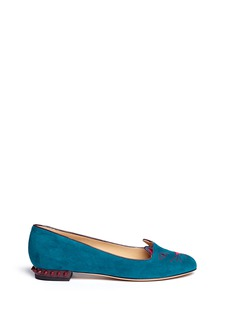CHARLOTTE OLYMPIA 'Kitty Studs' suede flats