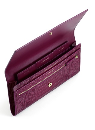 Detail View - Click To Enlarge - Smythson - 'Mara' croc embossed leather travel wallet - Dark Berry