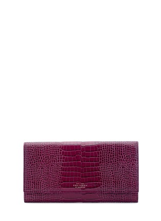 Main View - Click To Enlarge - Smythson - 'Mara' croc embossed leather travel wallet - Dark Berry