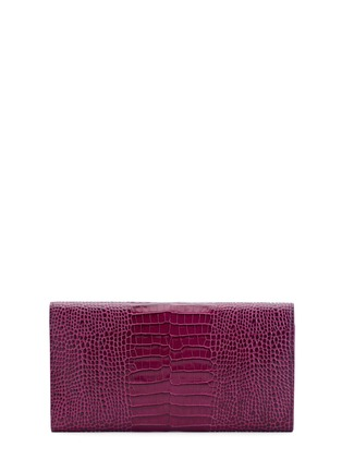Figure View - Click To Enlarge - Smythson - 'Mara' croc embossed leather travel wallet - Dark Berry