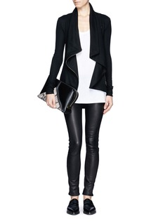 HELMUT LANG Drape collar zip wool jacket