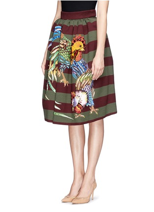 Front View - Click To Enlarge - STELLA JEAN - 'Veruska' acrylic rooster print structured skirt