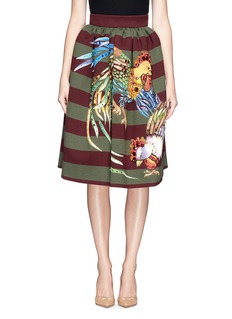 STELLA JEAN 'Veruska' acrylic rooster print structured skirt