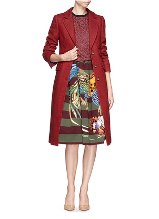 Figure View - Click To Enlarge - STELLA JEAN - 'Veruska' acrylic rooster print structured skirt