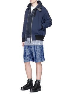 SacaiPineapple jacquard belted chambray shorts