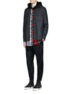 Alexander Wang Mixed check plaid hooded shirt