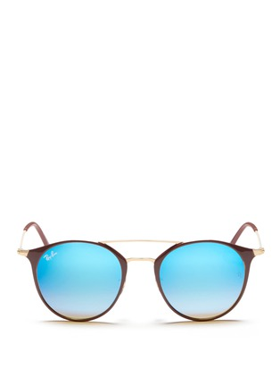Main View - Click To Enlarge - Ray-Ban - 'RB3546' coated metal round mirror sunglasses