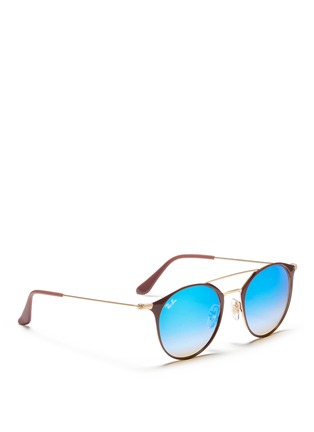 Figure View - Click To Enlarge - Ray-Ban - 'RB3546' coated metal round mirror sunglasses