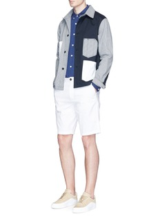 Maison Kitsuné Stripe patchwork worker jacket