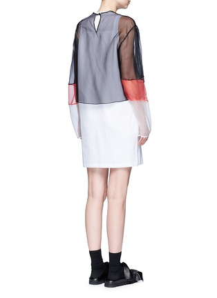 Back View - Click To Enlarge - MSGM - Colourblock mesh top cotton jersey dress