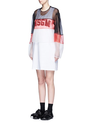 Front View - Click To Enlarge - MSGM - Colourblock mesh top cotton jersey dress