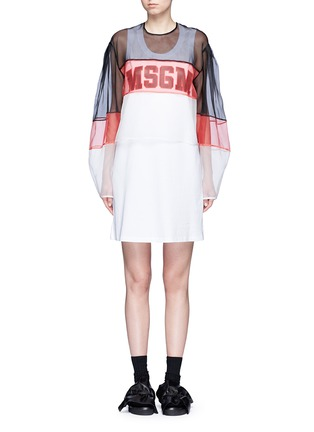 Main View - Click To Enlarge - MSGM - Colourblock mesh top cotton jersey dress