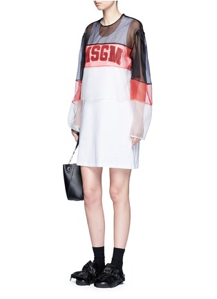 Figure View - Click To Enlarge - MSGM - Colourblock mesh top cotton jersey dress