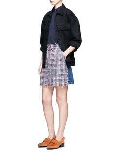 MSGMDenim back tweed skirt