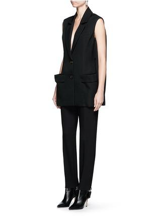 Figure View - Click To Enlarge - Balenciaga - Elastic stirrup strap twill pants